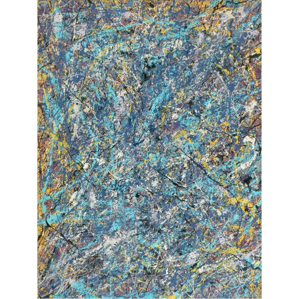drip art - blauwe glitters verwerkt in het werk - blauwe glitters