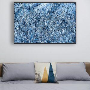 Drip art -blauwe tinten abstract werk - Blauw