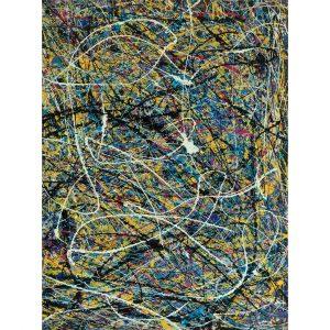 Drip art - sierlijke witte lijnen dansen op een kleurrijke achtergrond - dans van de liefde