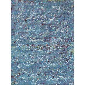 Drip art - egaal verdeeld wit op blauw - de vergeten vijver