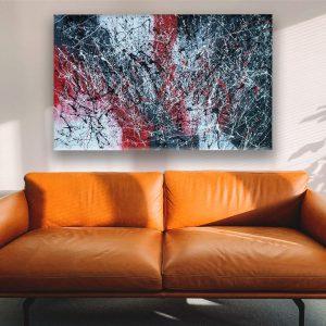 drip art groot schilderij
