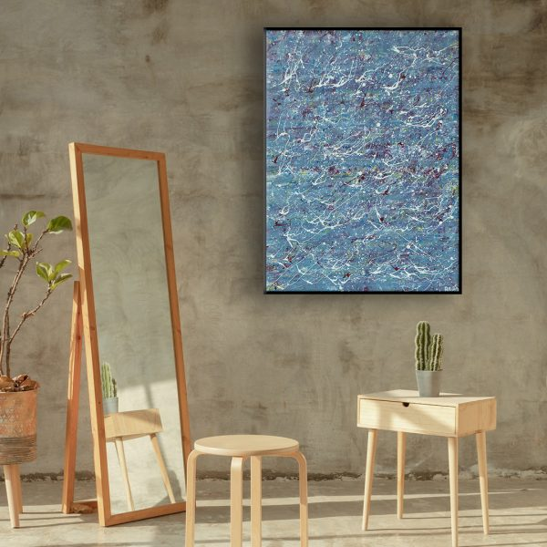 Drip art action painting - an abstract work of a pond full of lilies- The Forgotten Pond