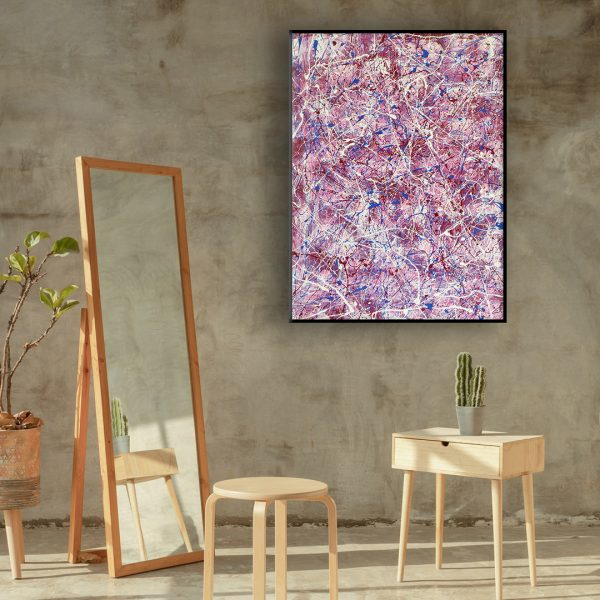 Drip art action painting - an abstract work of the pink panther - Mr. Pink