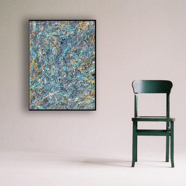 Drip art action painting - an abstract work with blue sparkles - Blue Sparkles