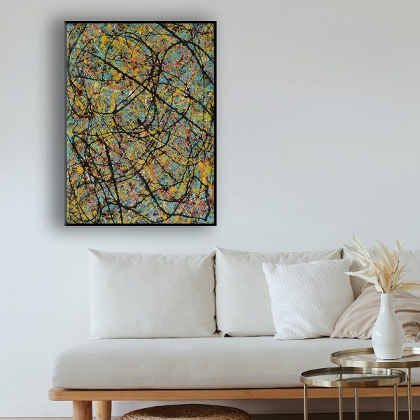 Drip art action painting - an abstract work with bright colours beneath a darker foreground- See The Kings Coming