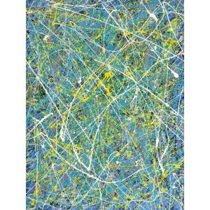 drip art - felle kleuren onder witte sierlijke lijnen - giftige Ivy