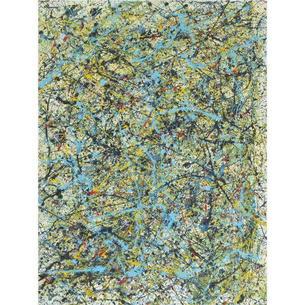 drip art - fel blauw op een kleurrijke achtergrond - we hebben water gevonden