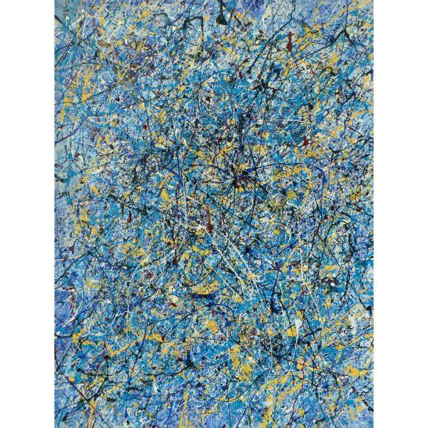 Drip art - geel en blauw abstract - ze kwamen in de nacht