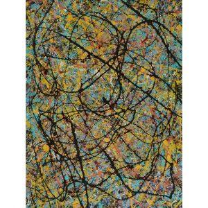 drip art - zwarte sierlijke lijnen op kleurrijke achtergrond - Zie de koningen komen
