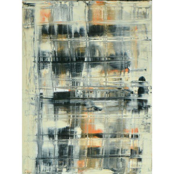 zwart wit oranje abstract schilderij