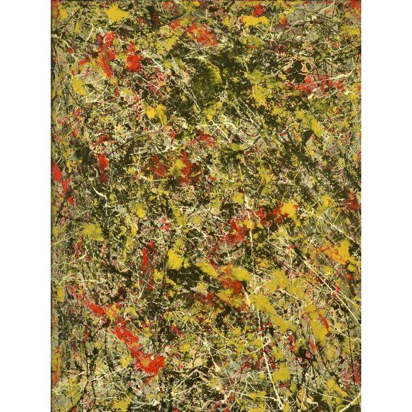 drip art - geel en rood modern - zwarte tulp