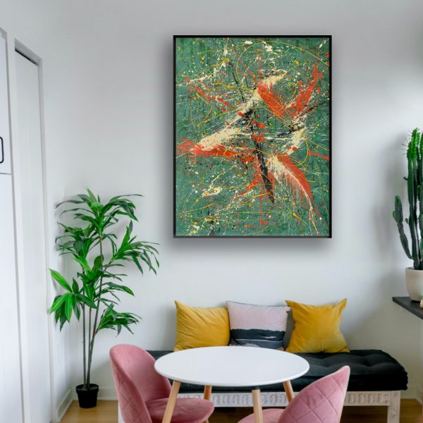 green abstract painting