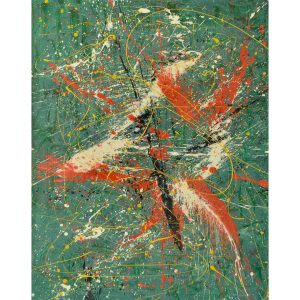 Drip art - red and white on a green background - Lobsters