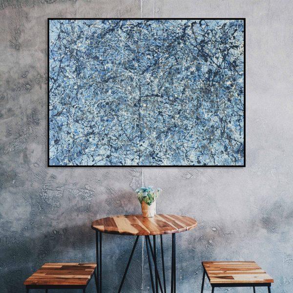 drip art - prachtig blauw modern schilderij - Blauw II