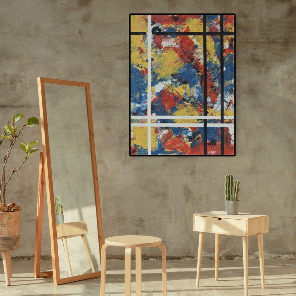 Hybride - non figuratieve kunst vele kleuren vooral primair - Mondriaan ontmoet Richter III