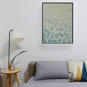 Other - abstracte kunst prachtig gestempeld werk in blauw en creme
