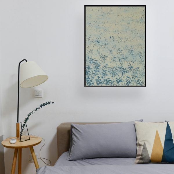 Other - abstract art fine stamped work in blue and creme colour